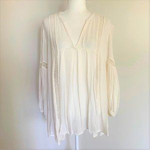 Free People White Lace Bell Sleeve Tunic Top